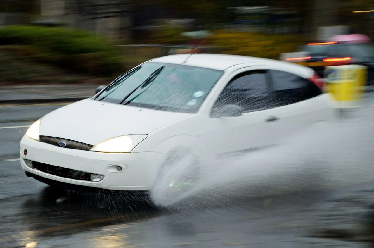 Car Aquaplaning After Rainstorm